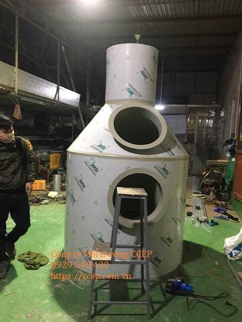 Gia công tháp xử lý khí thải scrubber