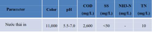 Thông số ô nhiễm nước thải đầu vào