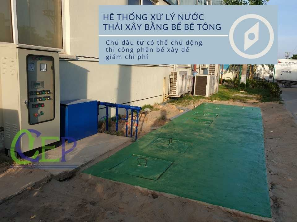 Hệ thống xử lý nước thải bằng bể bê tông